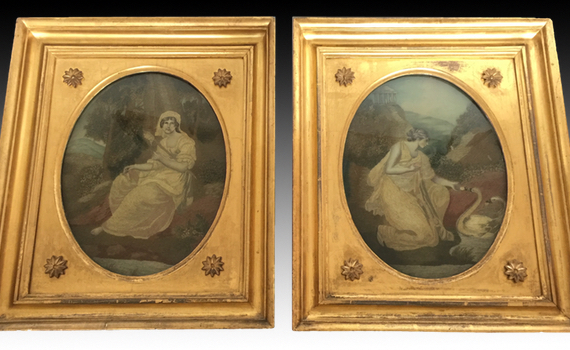 A Pair of antique George III Silkwork Pictures