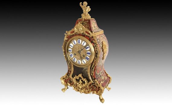 Antique French Boulle Mantel Clock Louis XV Style