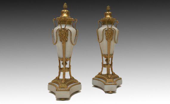 Antique Napoleon III Gilt Bronze & Marble Cassolettes