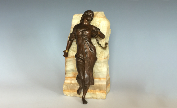 Antique Bronzed Metal Figure 'Andromeda Chained to the Rocks'