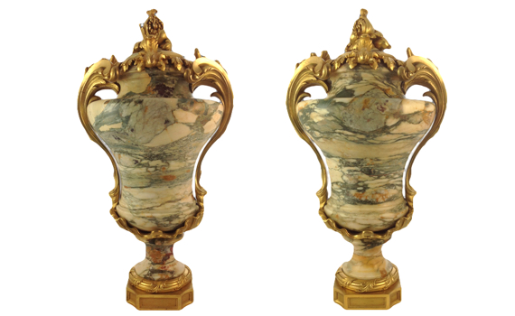 Fine Louis XV Style 19th Century Marble & Gilt Bronze Mounted Urns