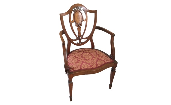 Edwardian Mahogany & Inlaid Antique Arm Chair