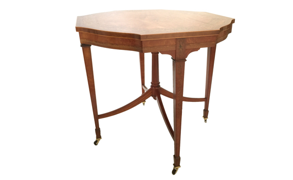 Late Victorian Antique Satinwood & Marquetry Inlaid Octagonal Table