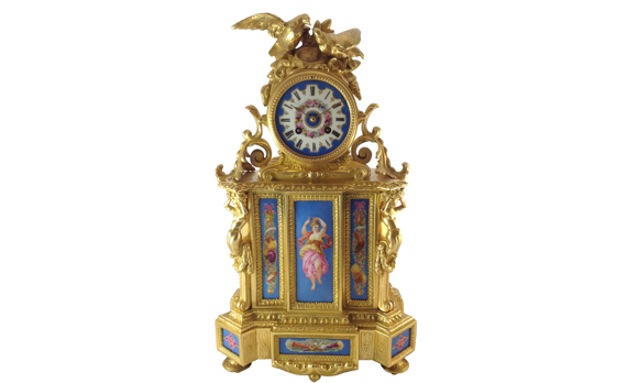 Napoleon III French Porcelain & Gilt metal Mantel Clock by PH Mourey