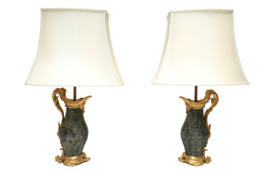 Antique French Gilt Bronze & Marble Louis XV Style Aiguières Lamps Attributed to Paul Sormani