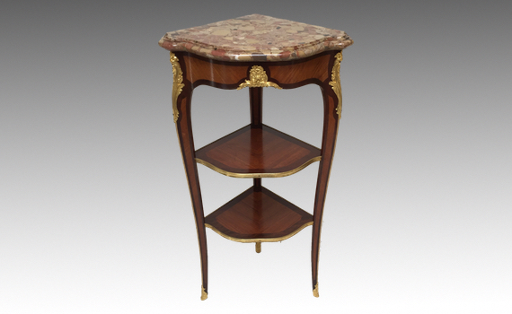 Antique French Ormolu Mounted Corner Table Louis XV Style by Durand