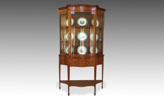 Antique Satinwood & Marquetry Inlaid Display Cabinet on Stand