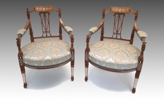 Antique Victorian Inlaid Satinwood Arm Chairs