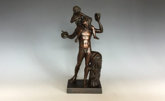 Antique Italian Bronze Satyr & Infant Bacchus