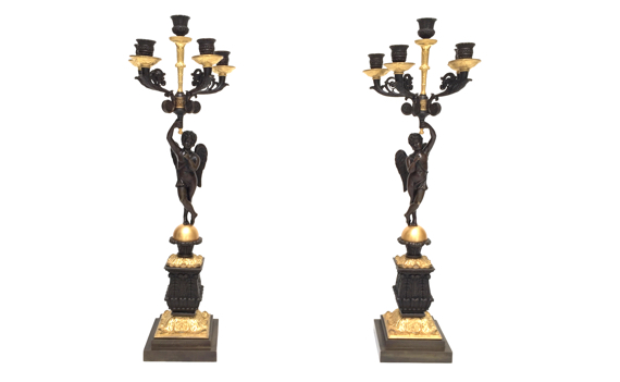 Antique Pair of Restauration French Gilt & Patinated Bronze Candelabra