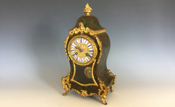 Antique French Green Boulle and Brass Inlaid Clock Louis XV Style