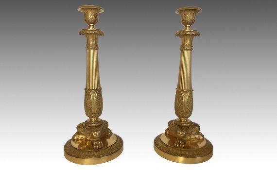 Antique Pair of Charles X Gilt Bronze Candlesticks