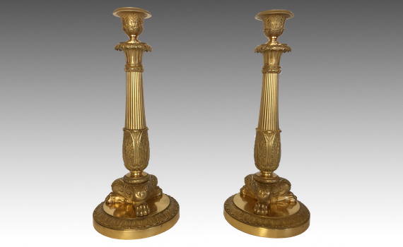 Antique Pair of Charles X Gilt Bronze Candlesticks