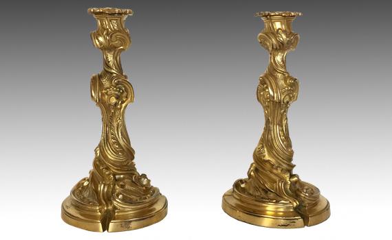 Antique French Louis XV Style Rococo Ormolu Candlesticks