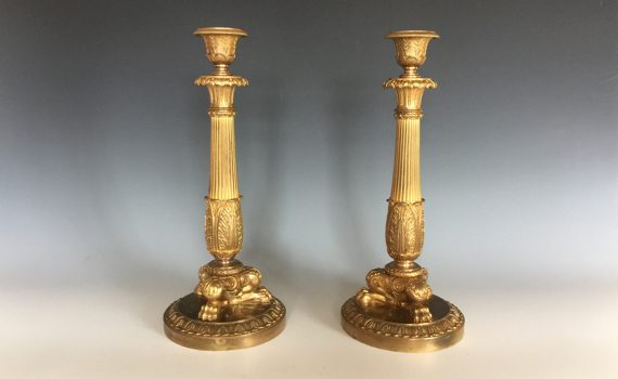 Antique Pair of Napoleon III Gilt Bronze Candlesticks