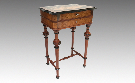 Antique Continental 19th Century Walnut & Marquetry Work Table
