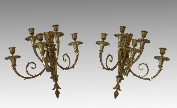Antique Pair of Louis XVI Style Five Light Wall Sconces