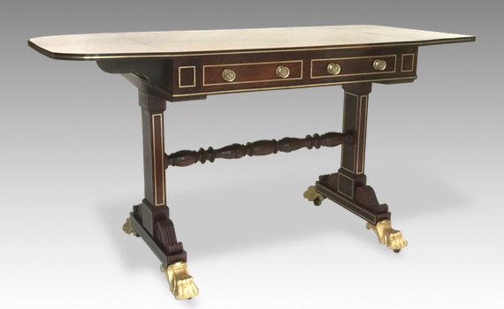 Antique Regency Rosewood & Brass Inlaid Sofa Table Attributed to Gillows