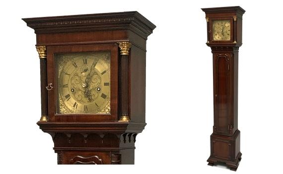 Antique Waring & Gillow Ltd Liverpool Mahogany 'Grandmother' Longcase Clock In Georgian Style
