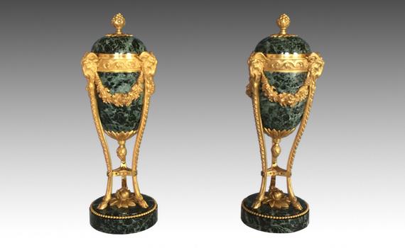 Antique Louis XVI Style Gilt Bronze & Vert Maurin Marble Cassolettes