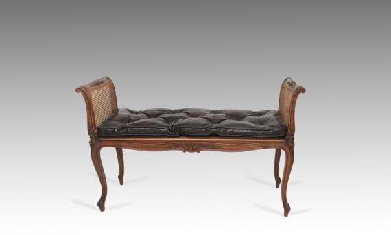 Antique Late 19th Century Carved Walnut Window Seat Louis XV Style