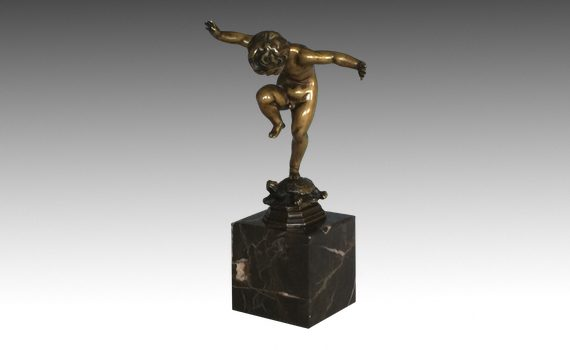 Antique Patinated Bronze Figure of a Boy on a Tortoise by Otto Geyer