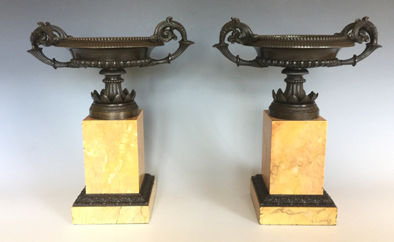 Antique French Charles X Period Bronze Tazzas on Marble Plinths