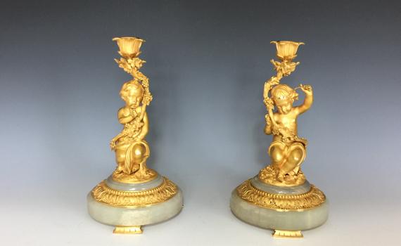 Antique Napoleon III Period Gilt Bronze & Onyx Cherub Candlesticks