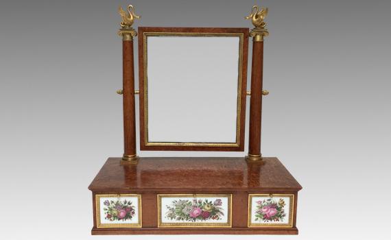 Antique French Restauration Period Amboyna Porcelain & Gilt Bronze Mounted Toilet Mirror