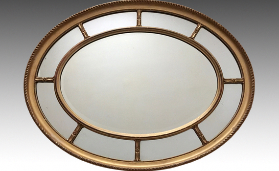 Antique Edwardian Giltwood & Gesso Oval Mirror