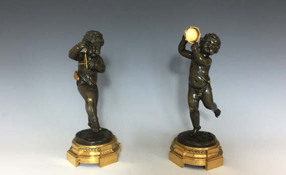 Antique pair of Napoleon III Bronze Putti Musicians after Clodion