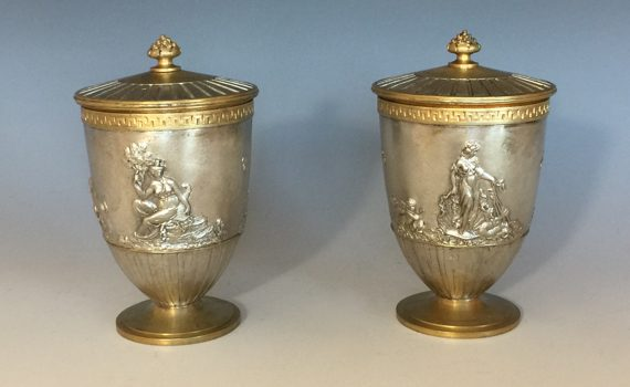 Antique French Pair of Gilt Bronze & Silvered Urns & Covers by Henri Picard