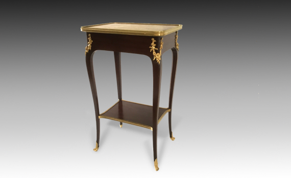 Antique French Mahogany & Ormolu mounted Marble Topped Lamp Table by Henry Dasson