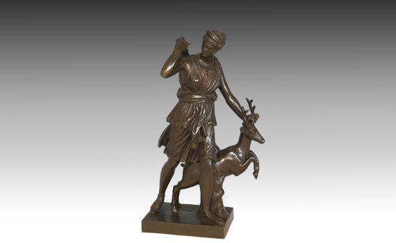 Antique French Bronze diane the Huntress cast by F Barbedienne
