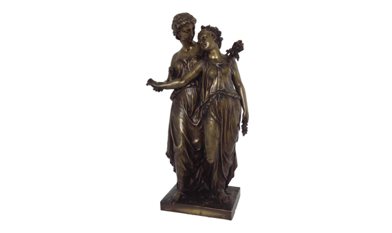 Henry Étienne Dumaige Antique Bronze Group Two Maidens