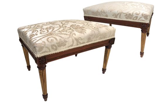 Antique Victorian Pair of Walnut & Parcel Gilt Stools Louis XVI Style