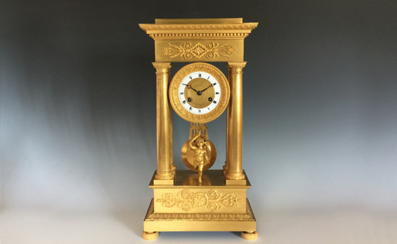 Antique Empire Ormolu Portico Clock by Alexandre Destape Palais Royal