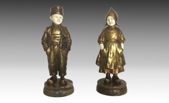 Antique Pair of Bronze & Ivory Dutch Figures by Joseph D'Aste
