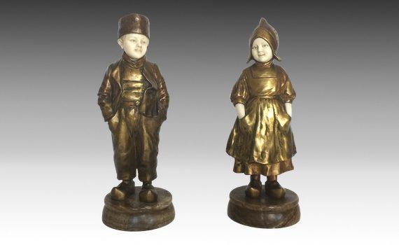 Antique Pair of Bronze & Ivory Dutch Figures by Joseph D'Aste
