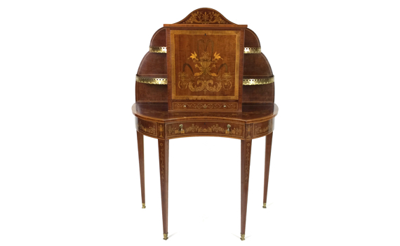 Antique Mahogany & Marquetry Bonheur du Jour Cabinet Edwards & Roberts
