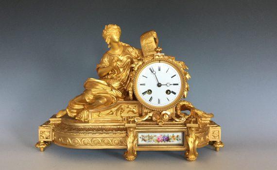 Antique Napoleon III Gilt Bronze & Porcelain Mantel Clock