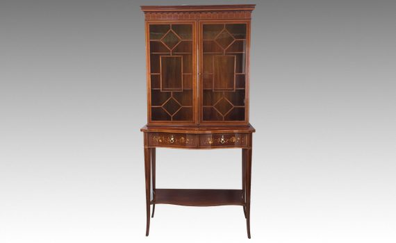 Antique Edwardian Mahogany & Marquetry Inlaid Display Cabinet on Stand