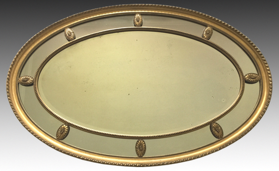 Antique Edwardian Oval Giltwood Mirror