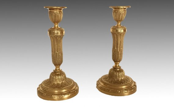 Antique Pair of Louis XVI Style Gilt Brass Candlesticks