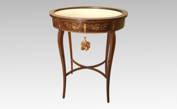 Antique Edwardian Mahogany Inlaid Bijouterie Table