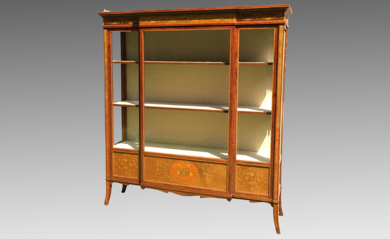 Antique Edwards & Roberts Marquetry Mahogany Display Cabinet