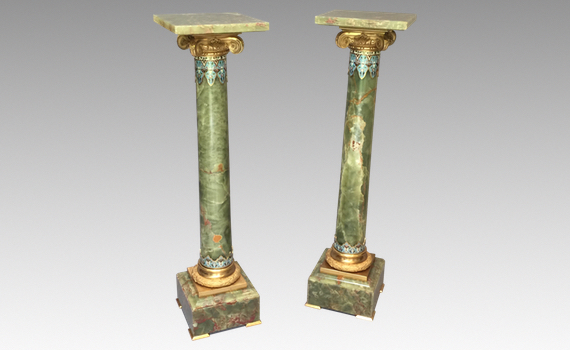 Antique pair of French Gilt Mounted Champlevé Green Onyx Columns