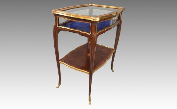 Antique French Kingwood Table Vitrine