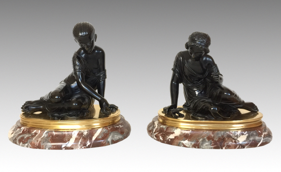 Antique Pair of French Bronzes Maidens Playing Knucklebones