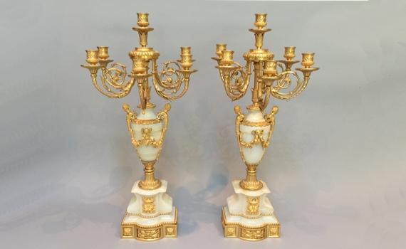 Antique French Napoleon III Gilt Bronze & Onyx Candelabra by Raingo Frères